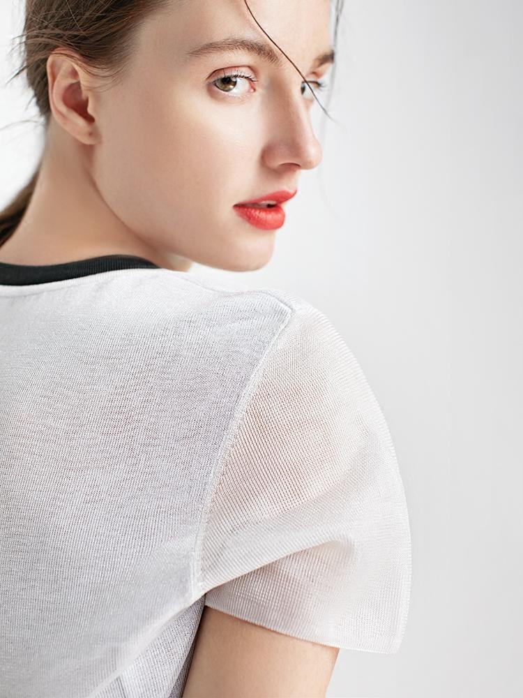 小虫 意大利进口纱线 撞色金属丝双层面料圆领短袖T恤女TE8CMZ006
