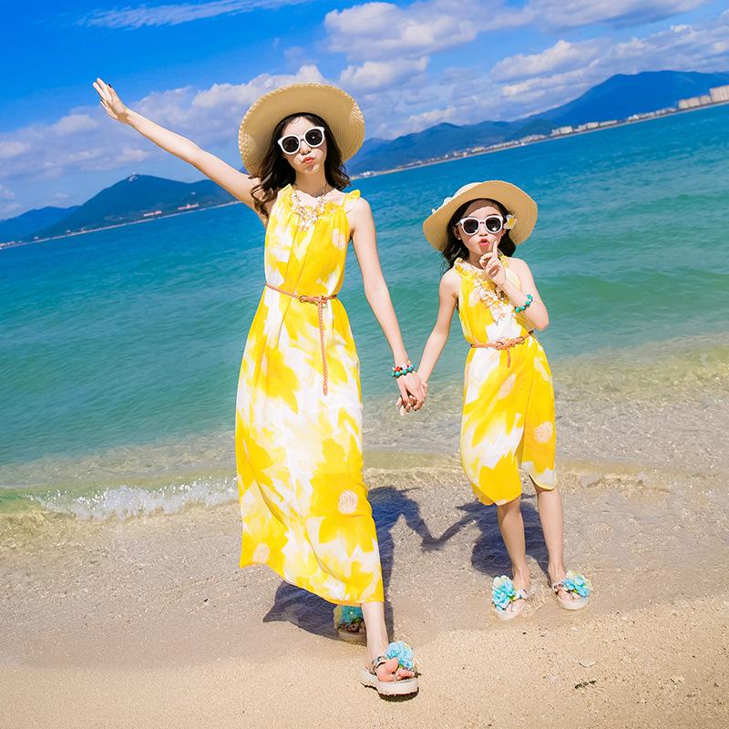 2017夏装新款中大女童连衣裙长裙儿童亲子波西米亚度假沙滩裙雪纺