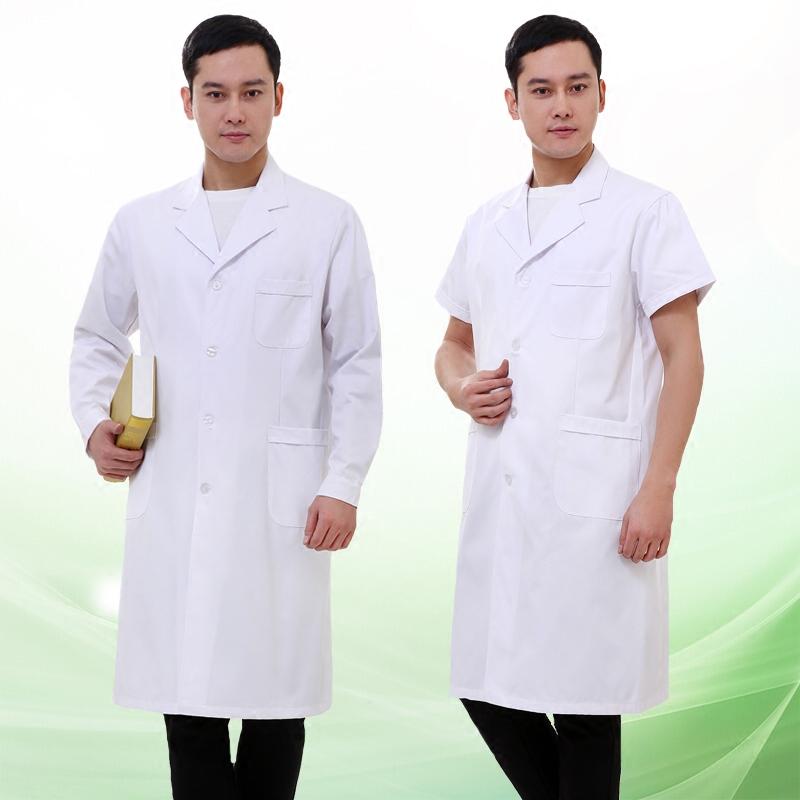 白大褂短袖女医生服长袖修身男实验服药店实习护士服纹绣师工作服