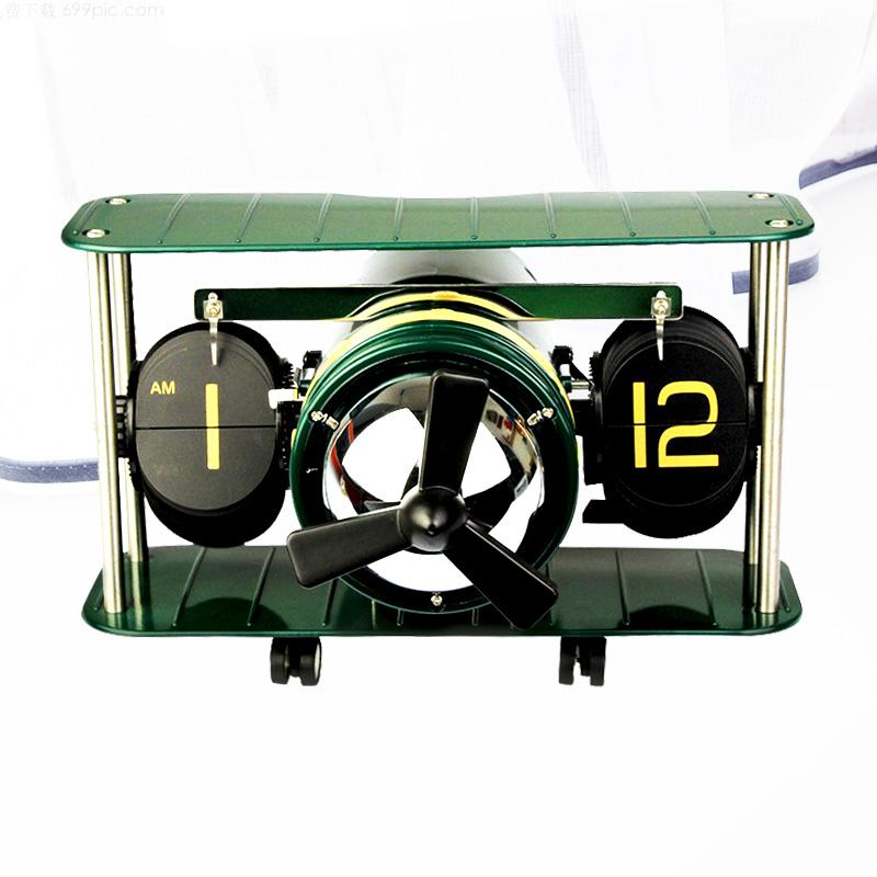 鑫頂泰飛機翻頁鍾歐式創意自動翻頁鐘錶個性時鐘潮品時鐘客廳座鐘