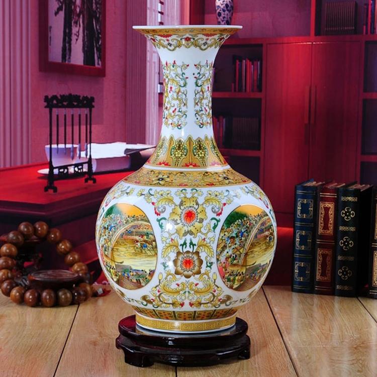 景德鎮陶瓷器 清明上河圖古典花瓶 現代時尚家居裝飾品工藝品擺件