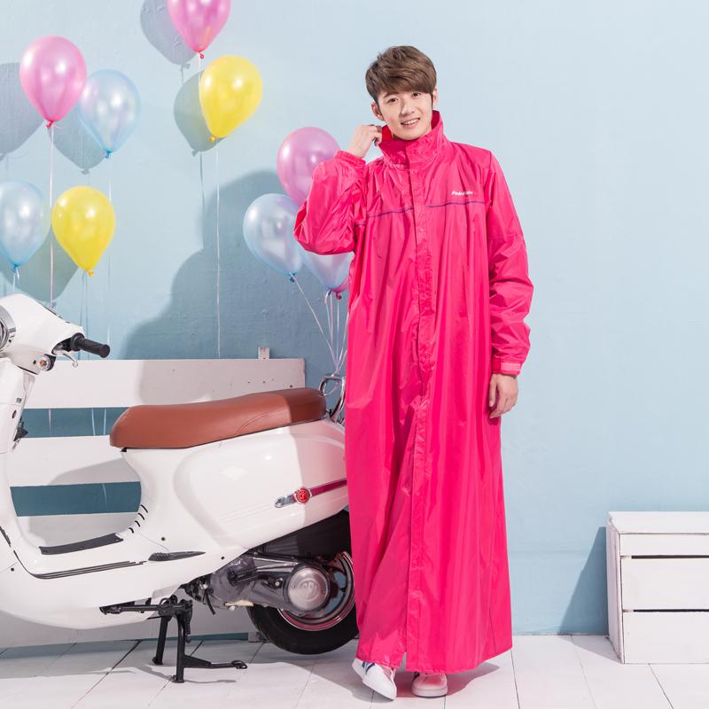 臺灣時尚成人長款雨衣女 加長男日本環保料電動車風衣式單人