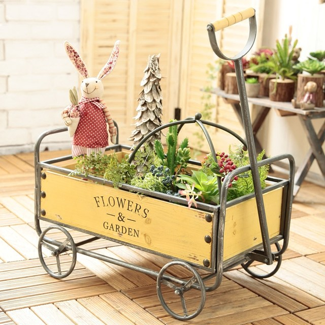 American Industrial retro personality stroller storage handling tools Decoration Home and Garden flower floats