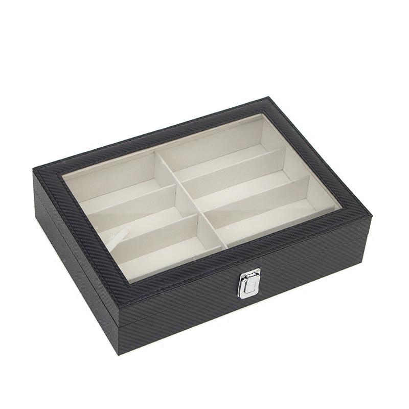 皮革透明眼镜收纳盒整理盒 多8格太阳镜墨镜便携收藏展示盒旅行