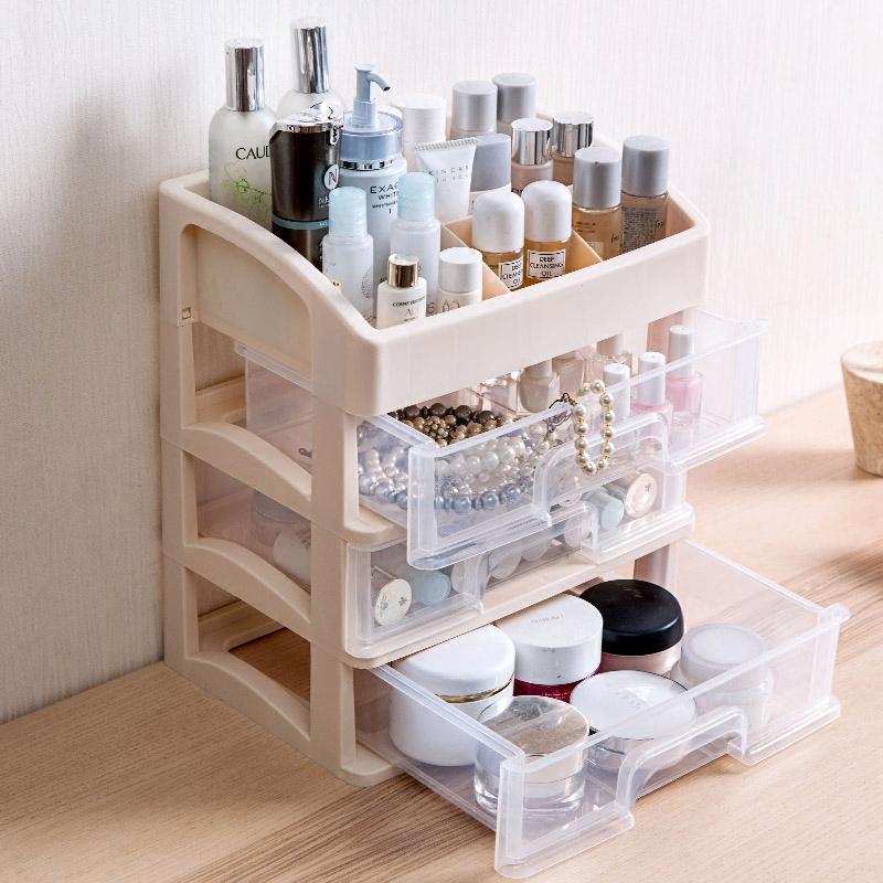 居家家抽屉式化妆品收纳盒梳妆台收纳架桌面塑料多层护肤品置物架