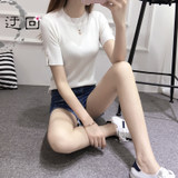 Slim sweater female pullover Korean version of the wild short ice silk sweater summer round neck short sleeve T-shirt bottoming shirt