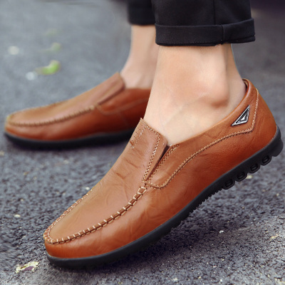夏季豆豆鞋男真皮男鞋软底百搭男士休闲鞋英伦时尚套脚皮鞋男韩版