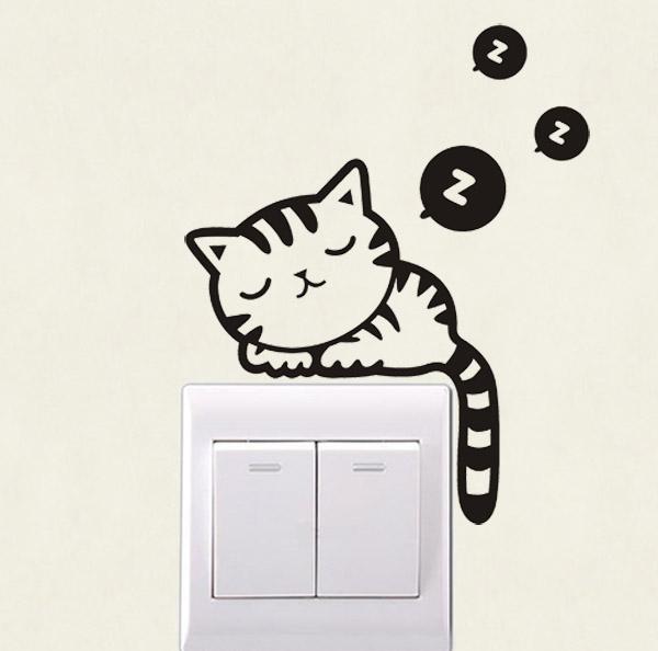 小貓 DIY燈開關貼牆貼歐式創意家居裝飾品動物插座貼個性電源貼紙