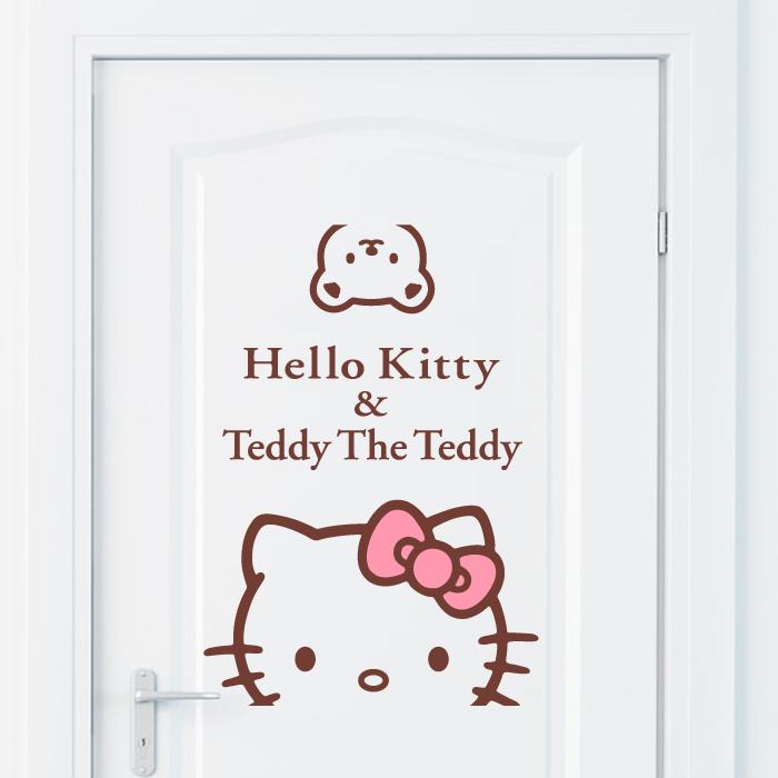 Hello Kitty貓小熊牆貼紙 兒童房臥室床頭幼兒園宿舍貼畫窗貼門貼