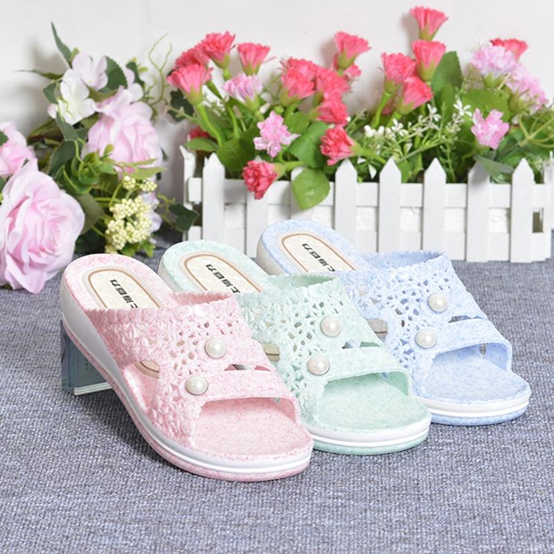一字拖女夏季韩版平底坡跟石头纹珍珠沙滩鞋松糕厚底防滑鱼嘴拖鞋