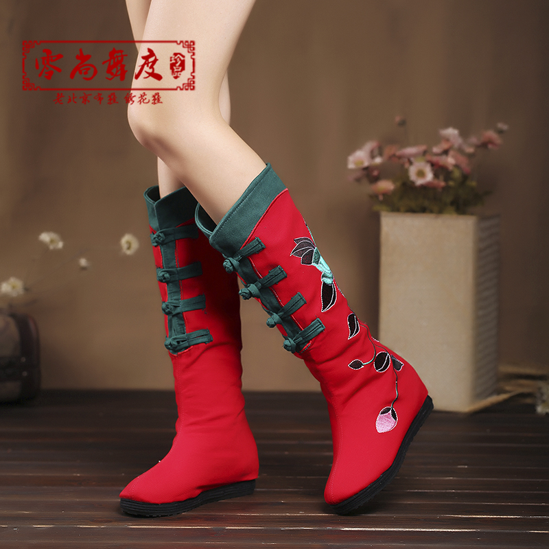 老北京布鞋女 棉靴復古民族風繡花鞋繡花靴子單靴 秋冬中筒靴子