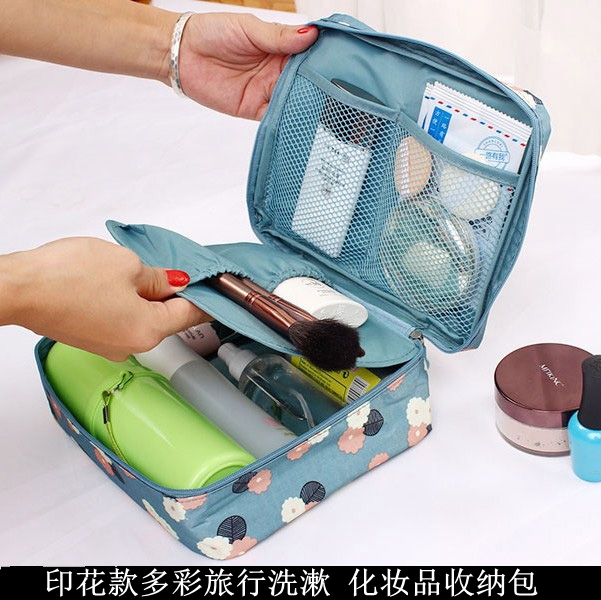 韓國便攜旅行套裝洗漱包出差旅遊印花女士防水收納袋手提化妝包