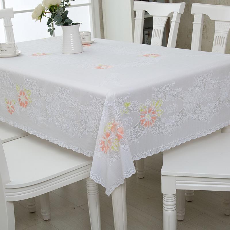 博虹 PVC餐桌布圆桌布防水免洗防油圆台布蕾丝塑料不定制 - 图0