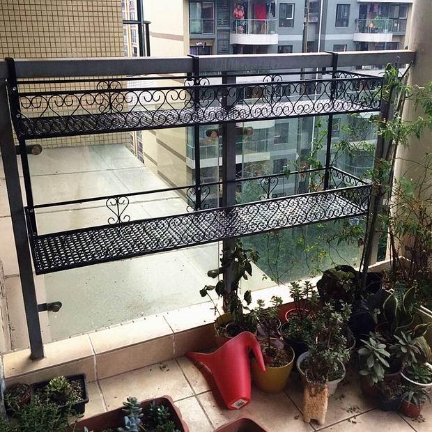 馨生活 歐式雙層欄杆花架懸掛陽臺護欄鐵藝多層花盆架多肉植物架
