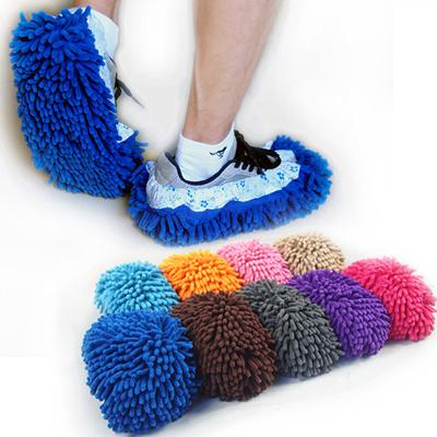 5双装 懒人清洁擦地拖鞋套 雪尼尔木地板毛毛鞋套 抹布拖地拖鞋套