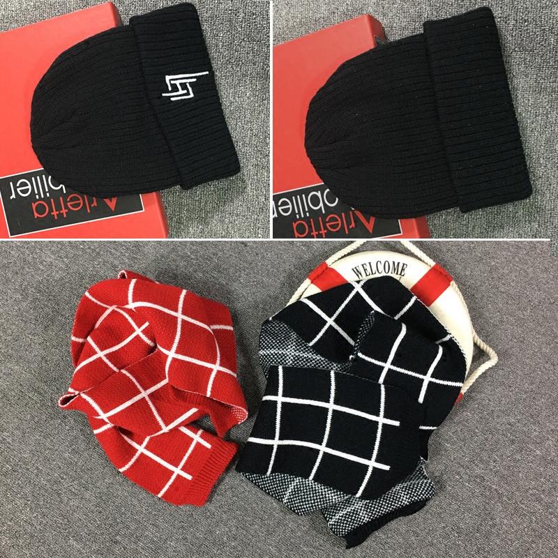儿童围巾2018新款冬季针织加绒男童毛线帽子宝宝围脖两件套韩版潮