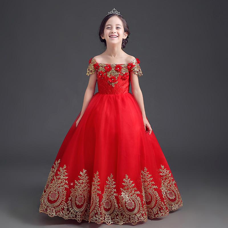 兒童禮服蓬蓬演出服花童春女童婚紗童裝公主裙鋼琴紗裙生日晚禮服