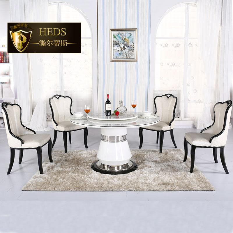 简约白色圆桌餐桌大理石圆形餐桌椅组合6人小户型带转盘 圆桌