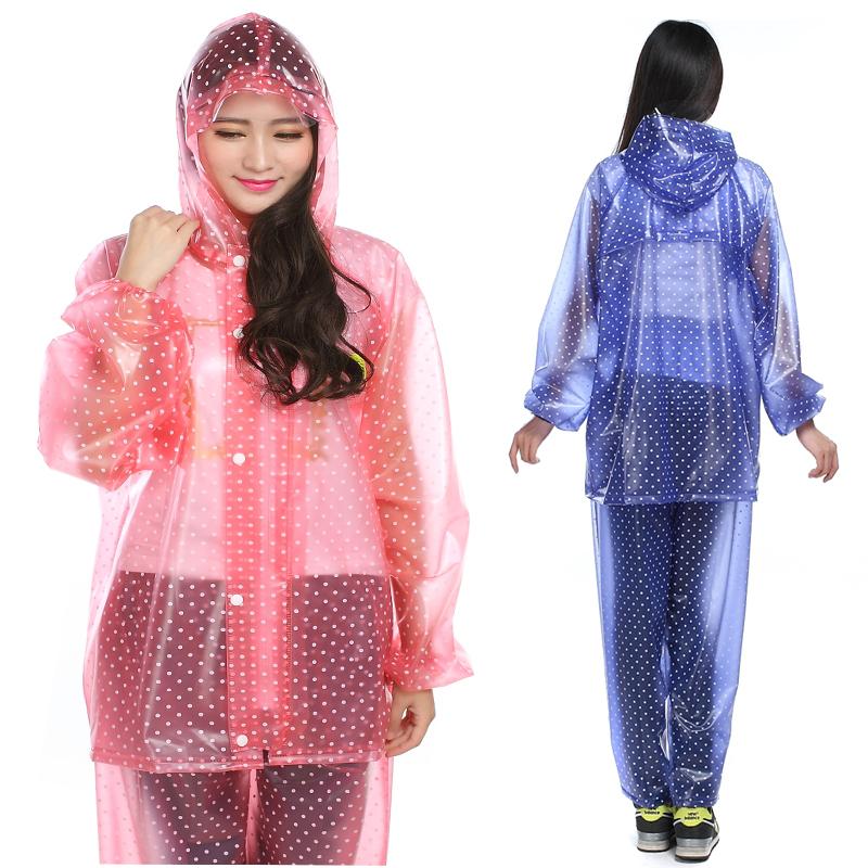 韓國時尚水晶雨衣成人女款男款戶外徒步騎行全身防水雨披套裝加厚