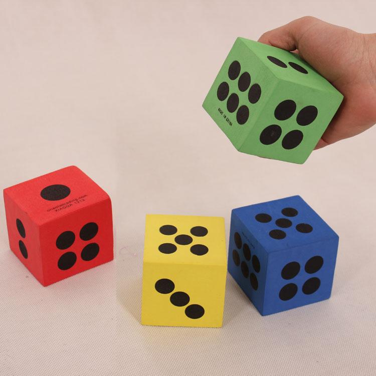 包郵篩子玩具兒童活動遊戲色子教具海綿EVA6cm泡沫骰子顏色隨機