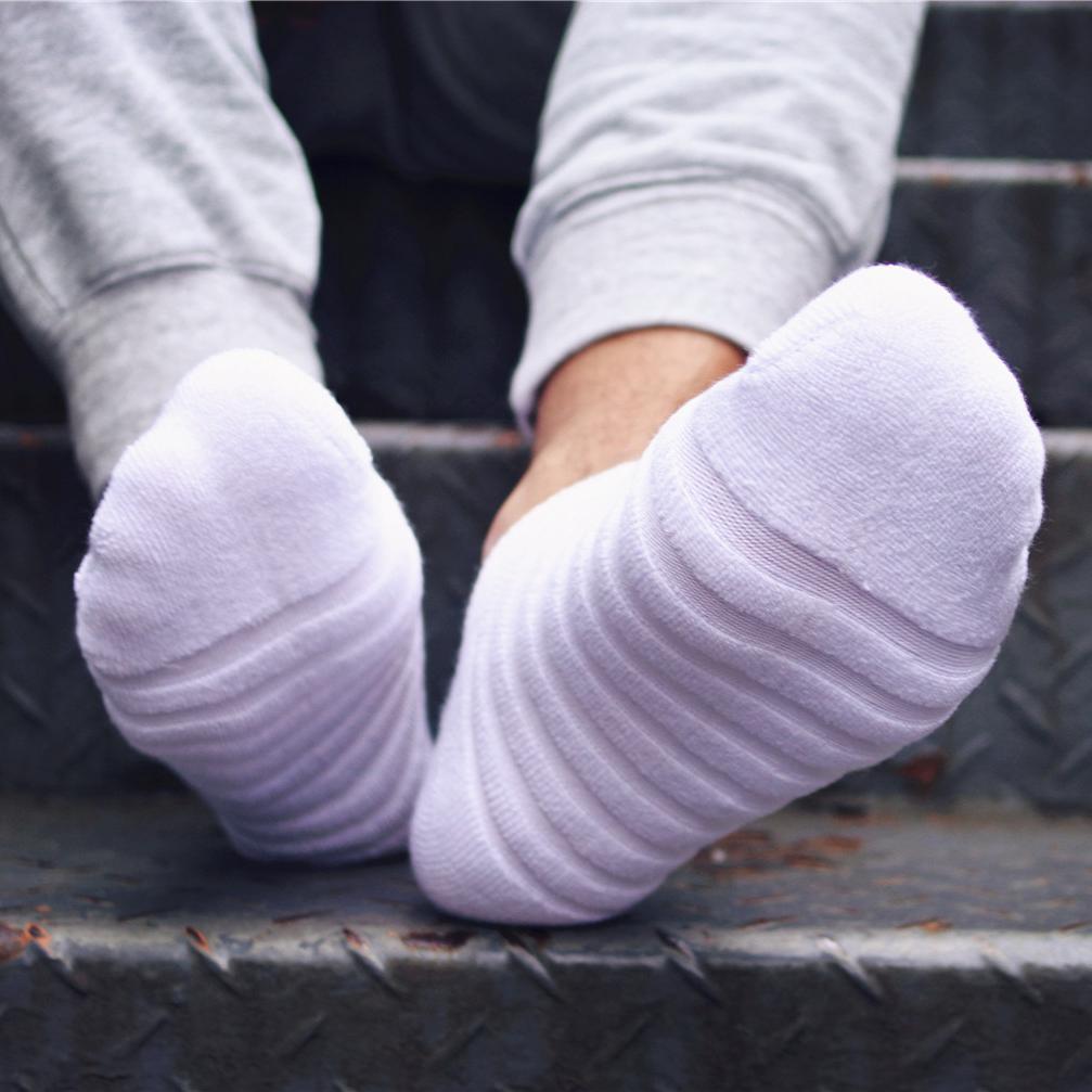 【三雙裝】春季新款全棉運動毛毛蟲男襪毛巾底船襪加厚白襪控