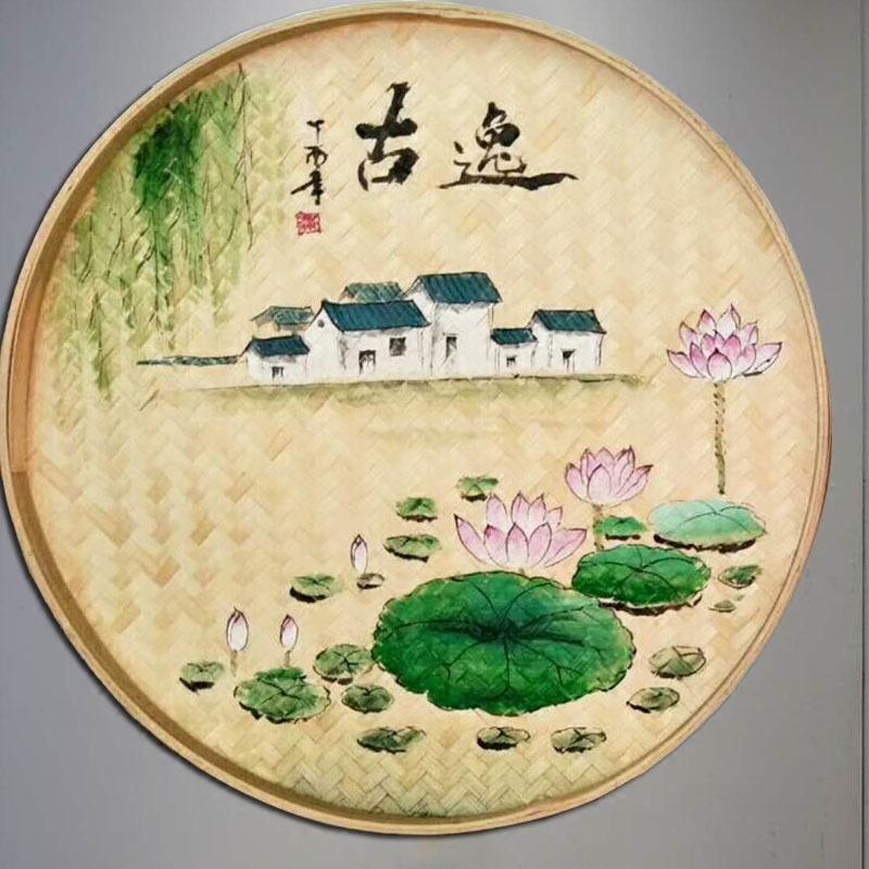 手繪竹篩圓簸箕家里裝飾品墻面房間壁飾溫馨竹編墻飾掛件墻壁掛飾
