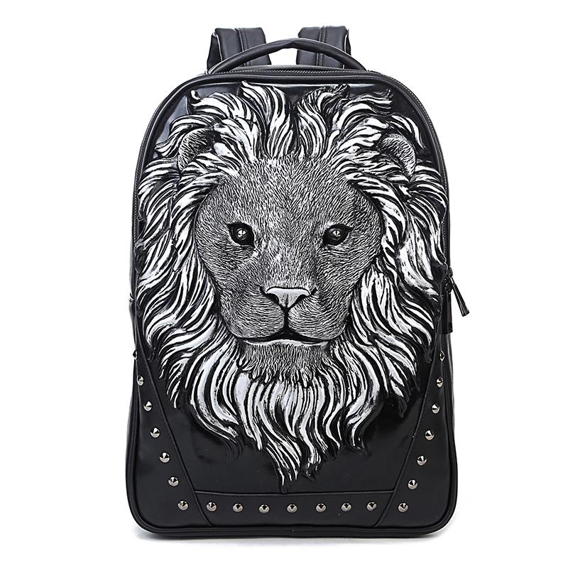 新款3D立體獅子頭動物時尚男潮流個性鉚釘獅王學生揹包日韓雙肩包