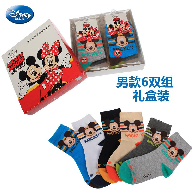 迪士尼兒童襪子寶寶棉襪男童秋冬款透氣短襪女童米奇6雙裝禮盒款