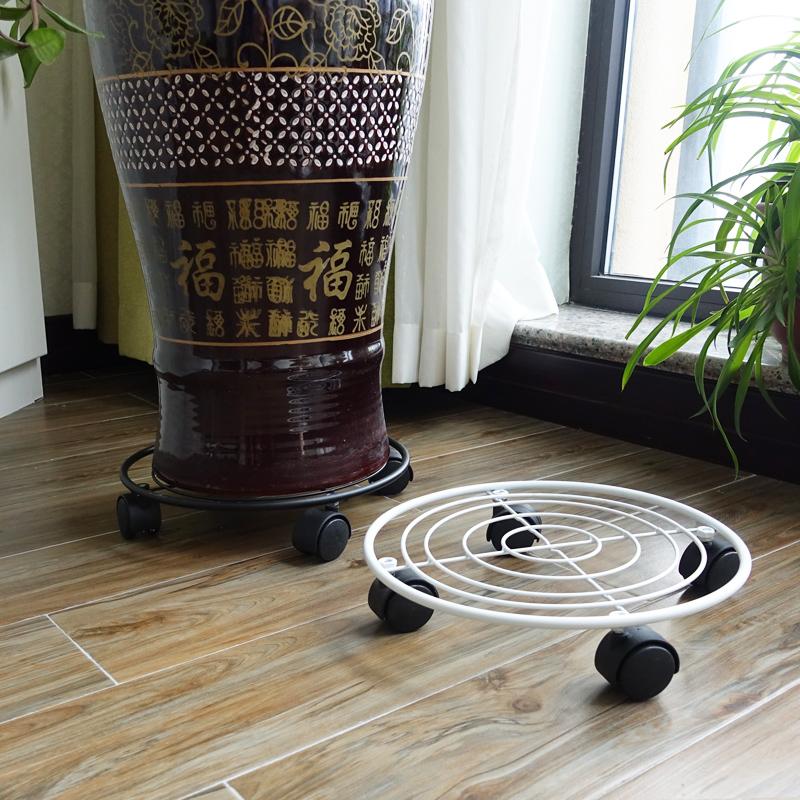 欧式铁艺移动花盆托盘加厚万向轮花盆底座圆形滚轮托盘多功能花架