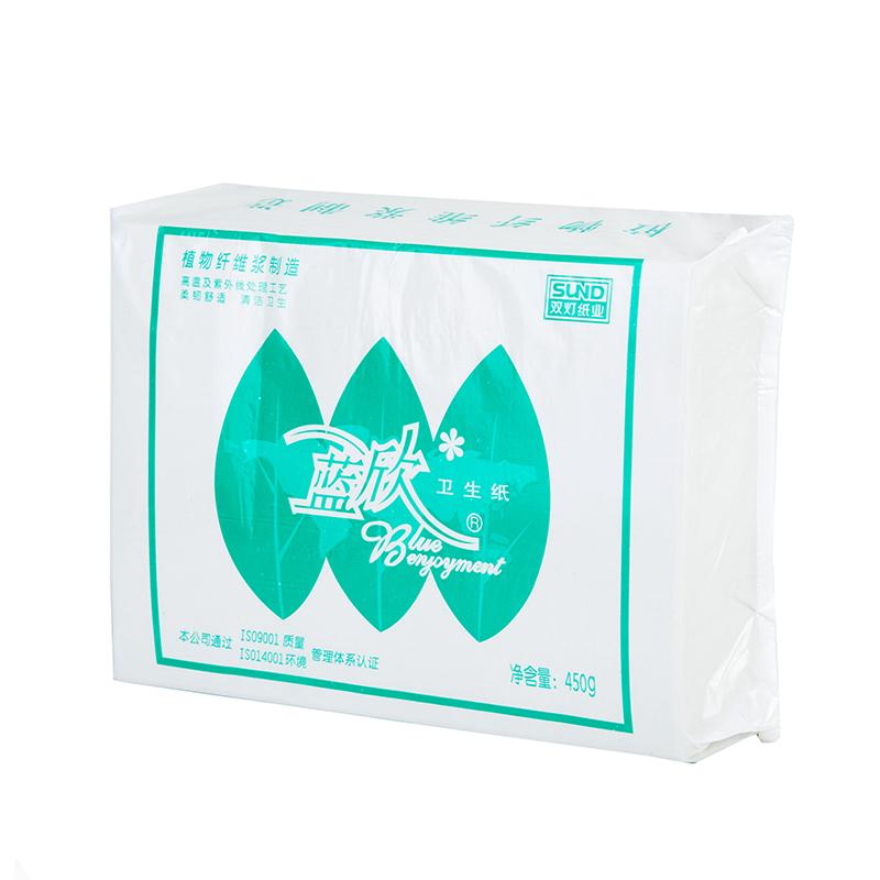 蓝欣平板卫生纸白方块450克苇、草浆草纸厕纸纸巾