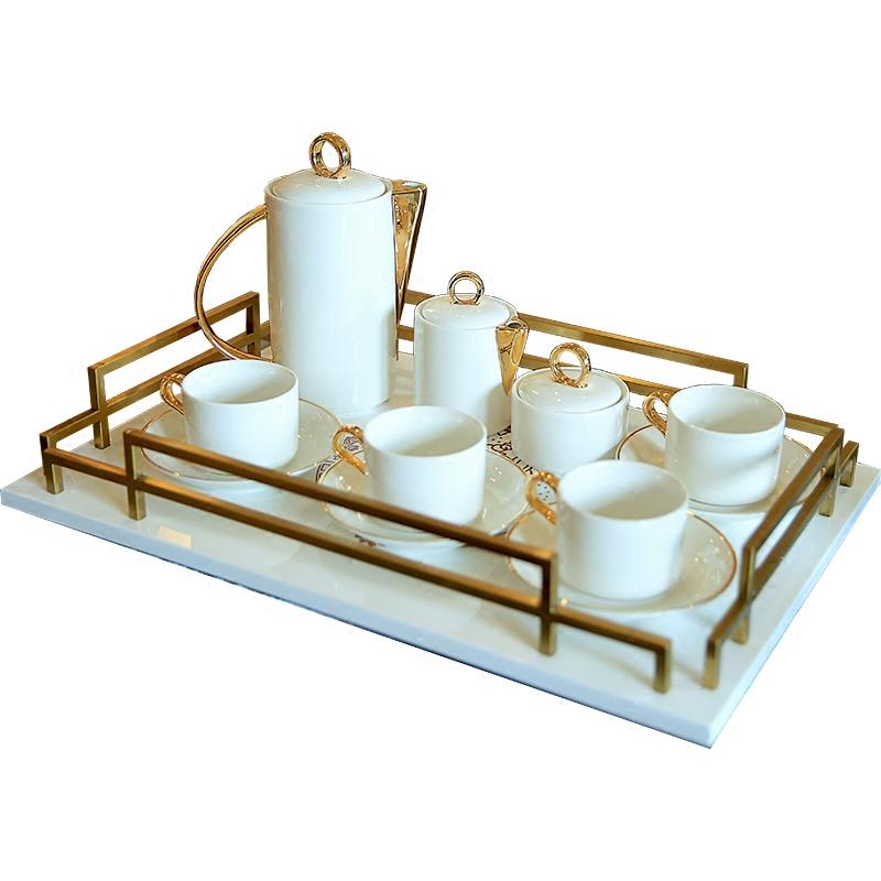 欧式样板房客厅茶几摆件装饰品陶瓷咖啡具套装家用下午茶茶具套装