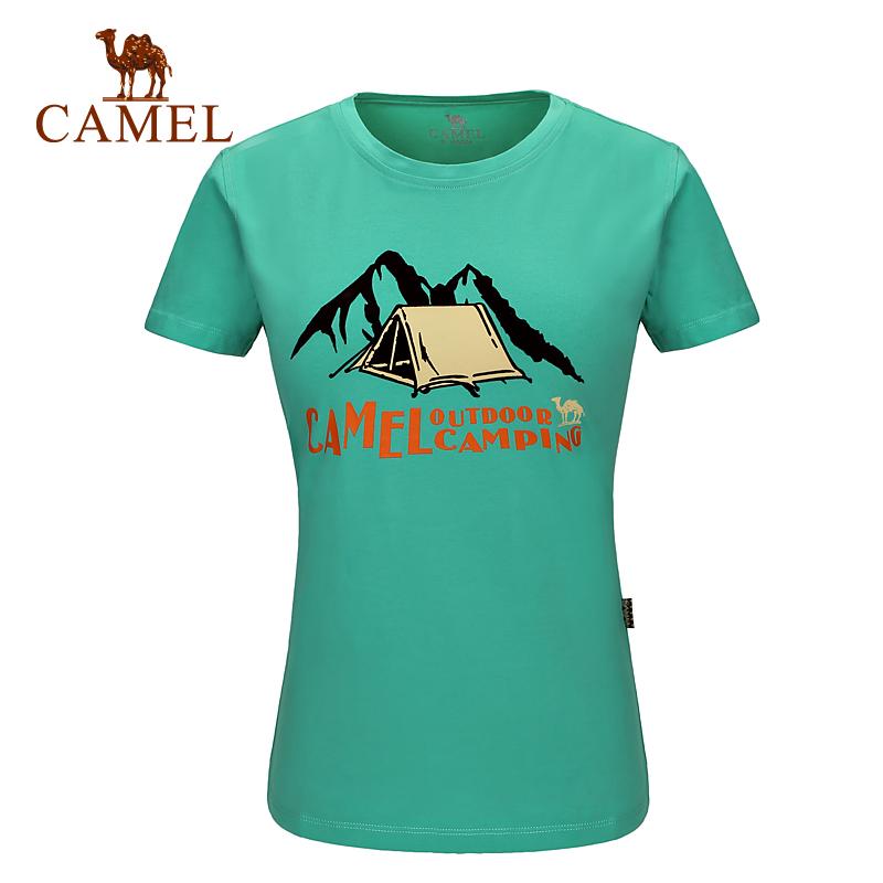 駱駝運動T恤戶外女款休閒圓領T恤夏印花舒適吸汗透氣半袖短袖上衣