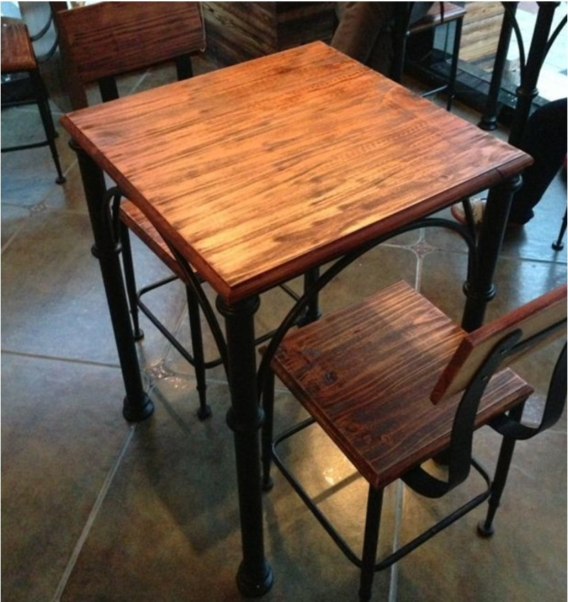 American Iron Loft Vintage Wood Dining Tables And Chairs