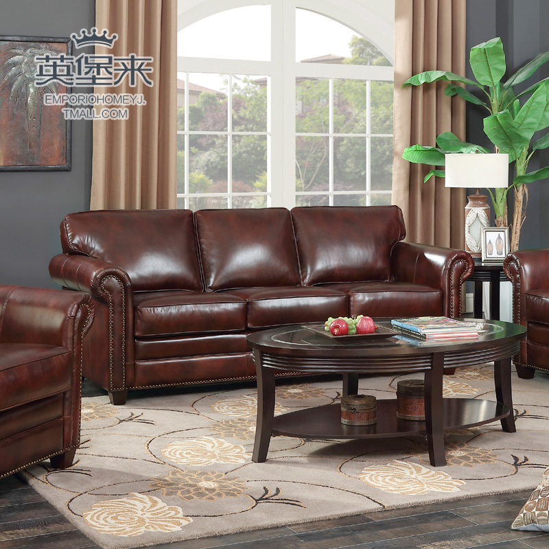 Buy American retro oil wax leather cowhide leather sofa ...