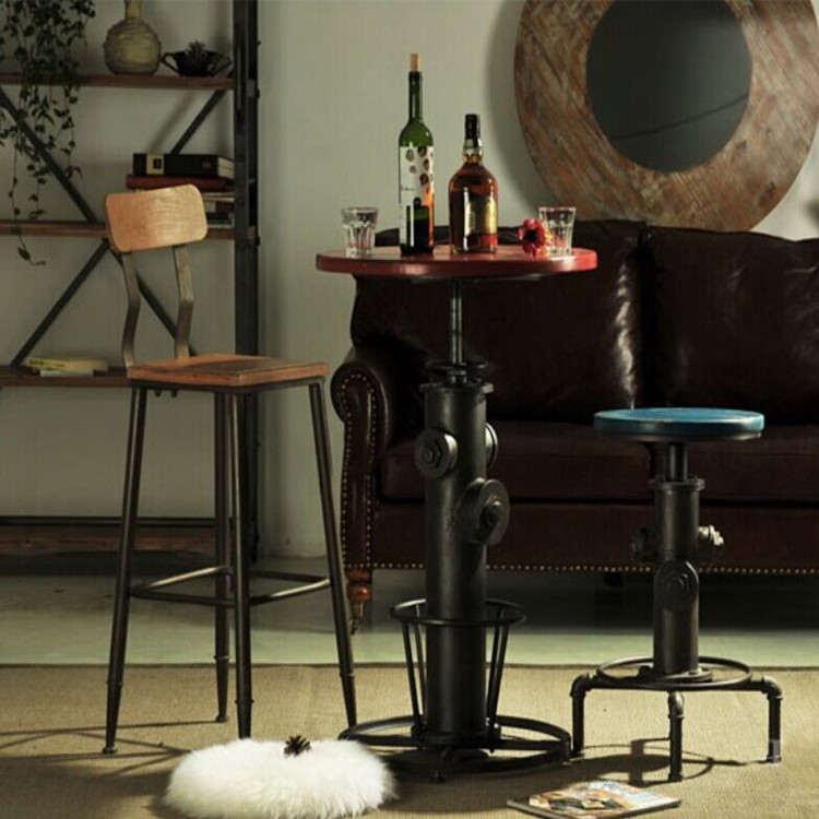 American Vintage Wrought Iron Dining Bar Tables Do The Old Stools Wood Chair Lift Coffee Table Leisure Furniture Suite In