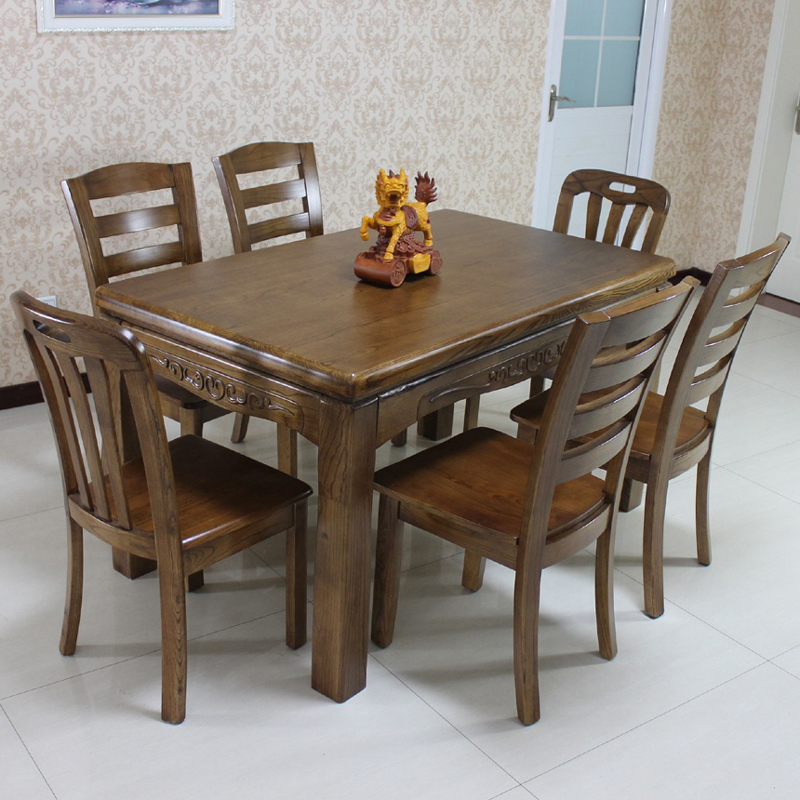 Ash Solid Wood Dining Tables And Chairs Combination