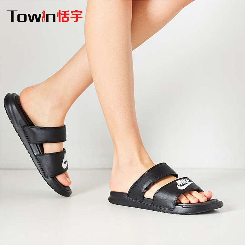 a658a8d7b2a2 Buy Authentic nike nike benassi duo slide woman black and white ninja  casual slippers 819717-010 in Cheap Price on m.alibaba.com