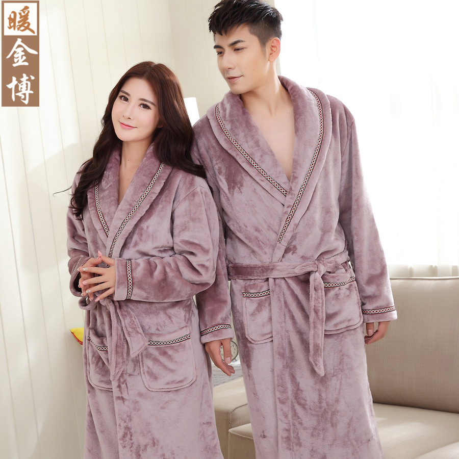d1f57c40b3 Buy Autumn and winter coral velvet robe couple female winter men  39 s  flannel pajamas thicker longer section winter purple bathrobe in Cheap  Price on ...