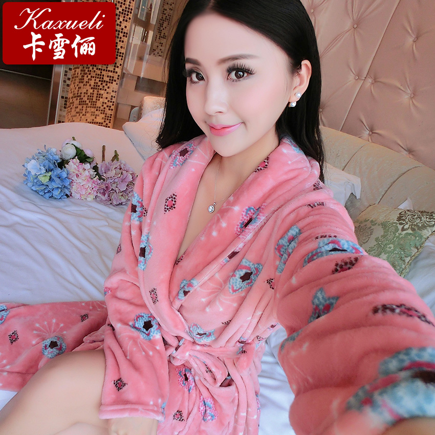 1de16cbfcb Buy Autumn and winter flannel nightgown female winter thick coral velvet  robe bathrobe sexy women long sleeve pajamas bathrobe tracksuit in Cheap  Price on ...
