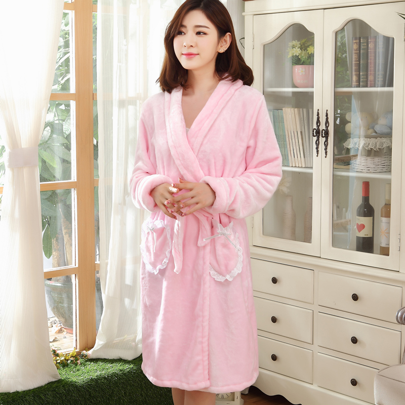 f7602c20ee Autumn and winter heart ms. cute female winter thick coral velvet robe  pajamas flannel nightgown bathrobe big yards