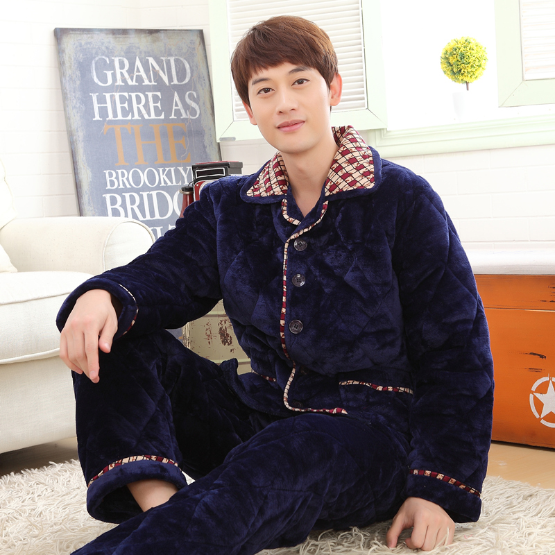 d521147612 Autumn and winter three thick coral velvet quilted pajamas men s flannel  pajamas cotton tracksuit suit large yards cherishable