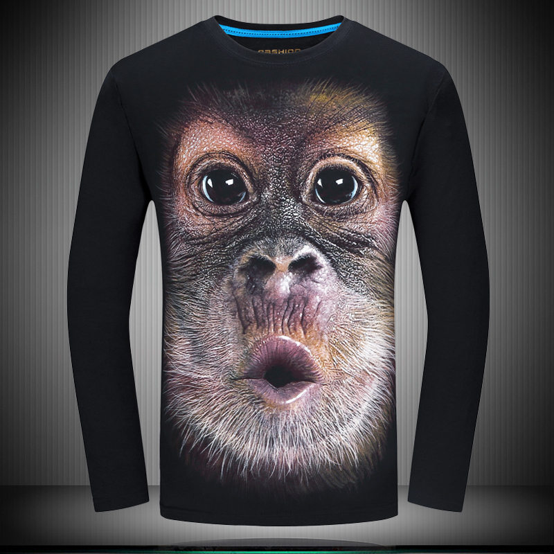 e992b56c26 Buy Autumn mens long sleeve t-shirt 3d printing loose round neck t-shirt xl gorilla  men bottoming shirt casual clothes in Cheap Price on m.alibaba.com