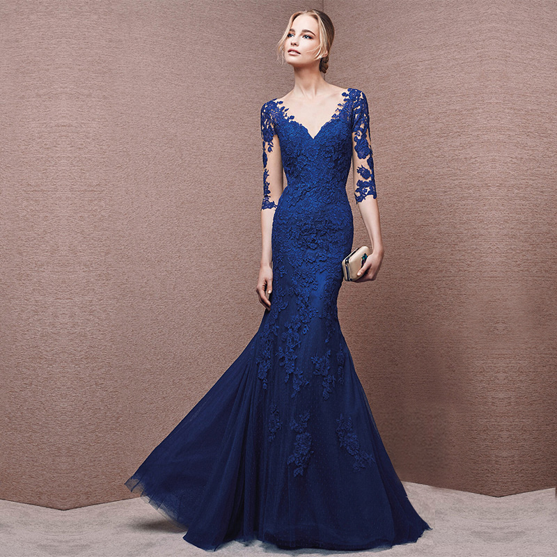 Buy Banquet Evening Dress Long Section 2016 Winter New Slim Long Sleeve Dress Dinner Party Host Annual Meeting Evening Dress In Cheap Price On Alibaba Com