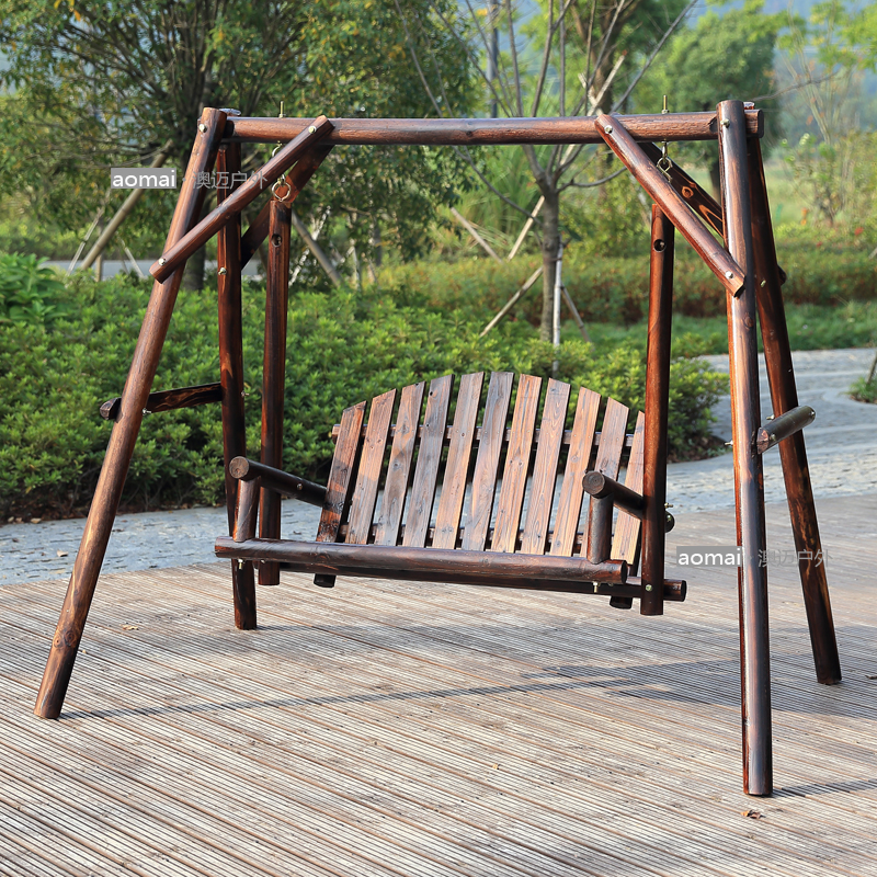 Buy Carbonized Wood Preservative Wood Balcony Patio Rocking Chair Swing  Chair Hanging Chair Indoor Wooden Swing Hanging Chair Outdoor Furniture  Park Chairs ...