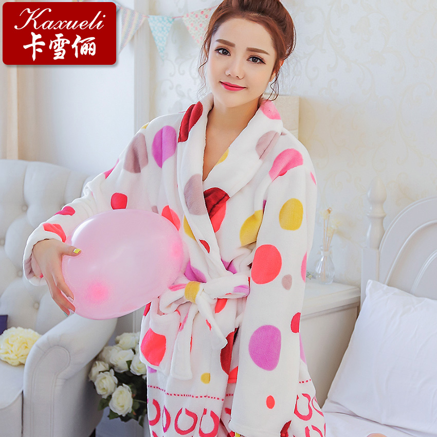 05e8965c89 Buy Cartoon autumn and winter flannel nightgown female thick coral velvet  robe bathrobe couple long sleeve pajamas women tracksuit in Cheap Price on  ...