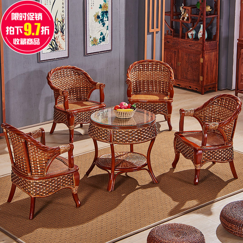 Buy Casual Outdoor Furniture Wicker Chair Chairs Coffee Table Wujiantao  Positronic Table And Chair Combination Packages Balcony Furniture Rattan  Chair Teng ...