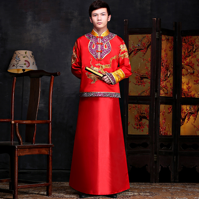 5d1a7d796fb71 Buy Chinese wedding dress costume male long traditional costume groom  married men  39 s clothing xiu toast clothing summer clothing in Cheap  Price on ...