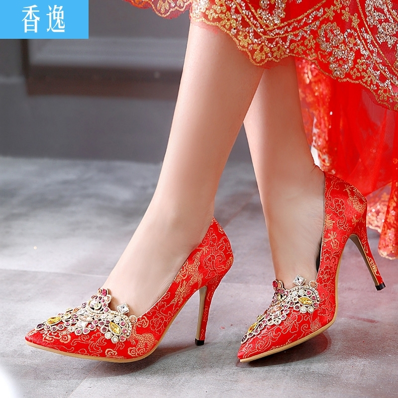 Chinese Wedding Shoes Red High Heels Diamond Tip Fine With Female Bridal Dragon Dress Women