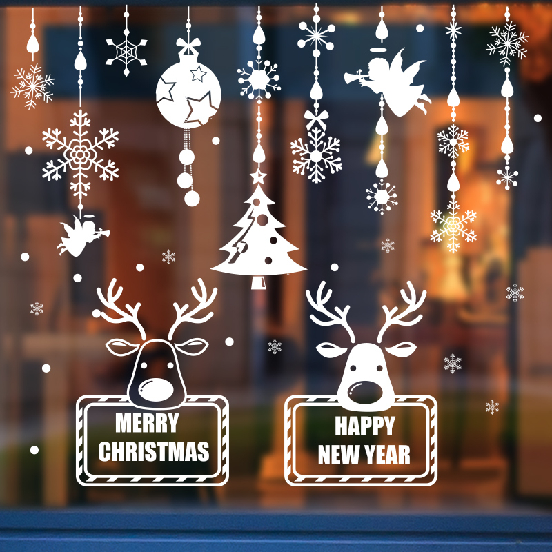 christmas window glass door stickers wall stickers shop company arranged decorations reindeer bells clang socks snowflake tree stickers painting - Christmas Window Stickers