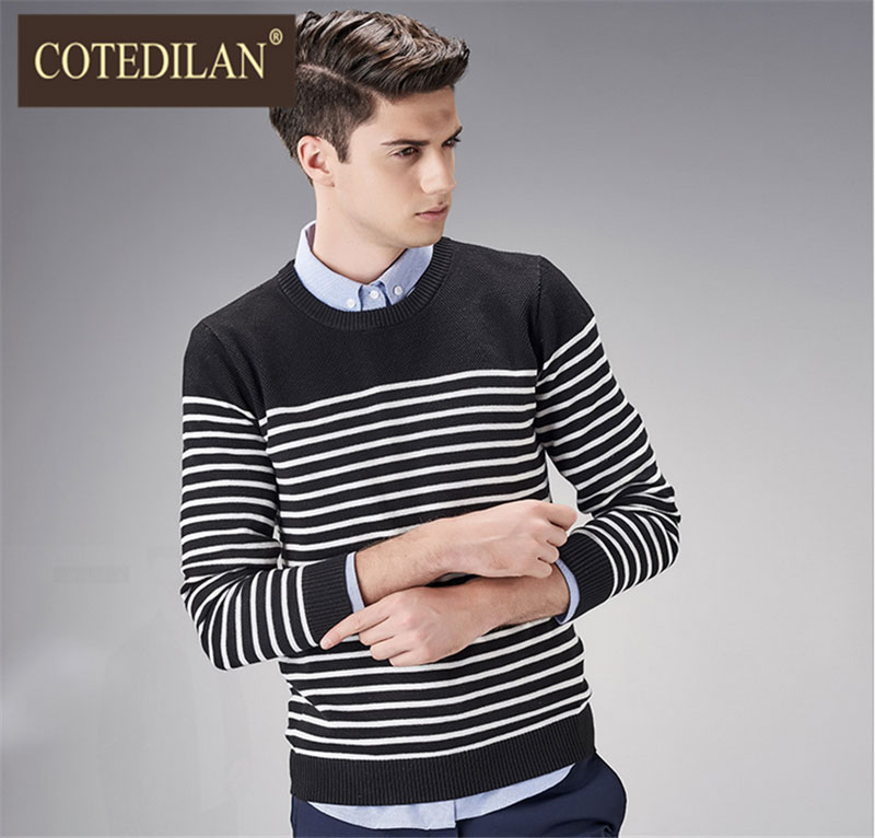 1c22132dc Buy Cotedylan light luxury men  39 s 2016 fall fashion korean slim round  neck striped sweater men  39 s sweaters men  39 s sweaters in Cheap Price  on ...
